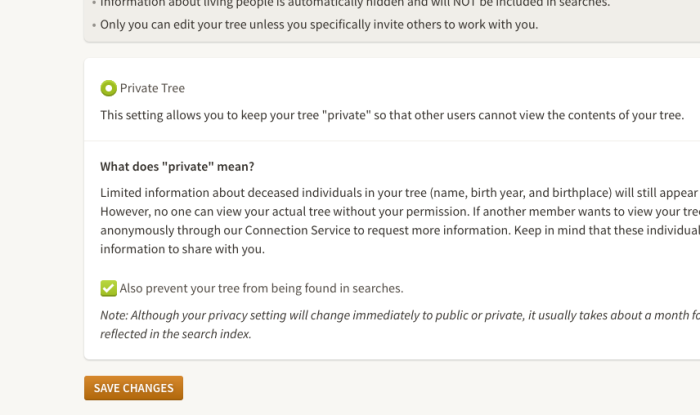 The sad day most of my Ancestry.com trees went Private/Unsearchable…