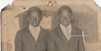 Andrew and Anderson Thornton, twins, c. 1914.