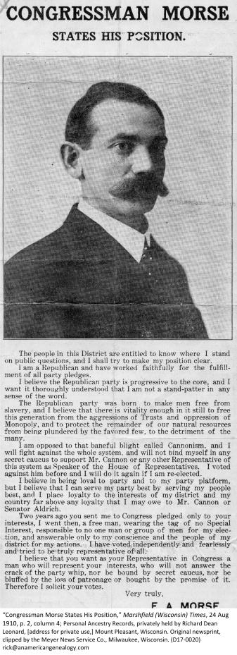 Article, EA Morse, Marshfield Times (D17-0020)